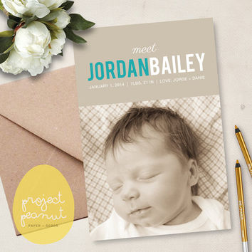 Printable Baby Photo Birth Announcement: Meet Baby