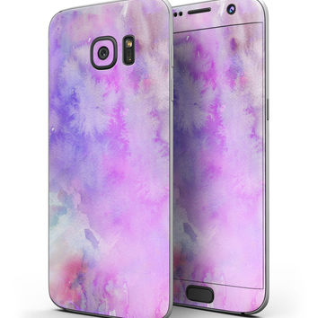 Washed Purple Absorbed Watercolor Texture - Full Body Skin-Kit for the Samsung Galaxy S7 or S7 Edge