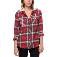Empyre Girls Bristol Red Plaid Hooded Flannel Shirt at Zumiez : PDP