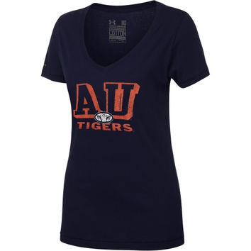 Under Armour Auburn Tigers Women's Charged Cotton V-Neck T-Shirt