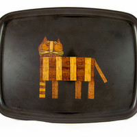 Vintage Couroc Inlaid Wood Cat Serving Tray - Intarsia / Marquetry Tray