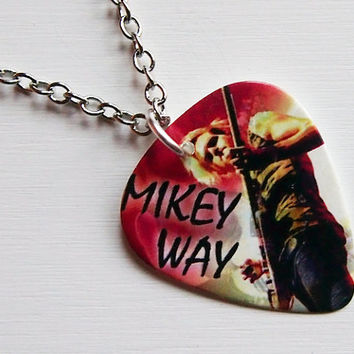 Guitar Pick Necklace: My Chemical Romance Necklace - MCR Necklace - Mikey Way Necklace - MCR Jewelry - My Chemical Romance Jewelry