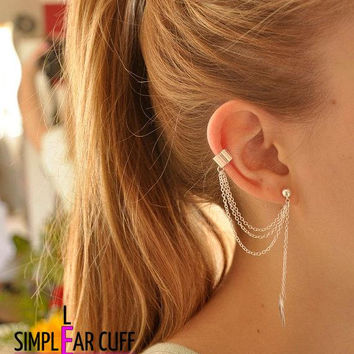 Simple Leaf Ear Cuff With Chains