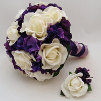 Purple White Bridal Bouquet Bridesmaid Bouquet Real Touch Roses & Purple Hydrangea Real Touch Rose Boutonnieres