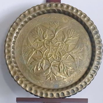 Vintage Round Brass Tray Embossed with Pie Crust Rim
