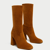 CORDUROY HIGH HEEL ANKLE BOOTS DETAILS
