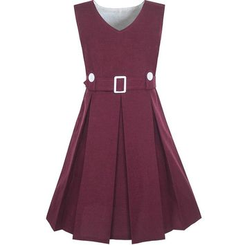 Girls Dress Maroon Button Back School Uniform Pleated Hem 2017 Summer Princess Wedding Party Dresses Children Clothes Size 6-14