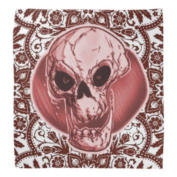 skull and traditional turkish pattern red tint bandana