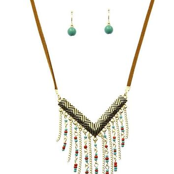 Turquoise and Coral Fringe Micro Bead Necklace And Earring Set