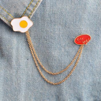 Trendy Omelette Eggs and eat me tassel pins Backpack Denim jackets Jeans Bag Hat Decoration Accessories Hard enamel pin Food jewelry AT_94_13