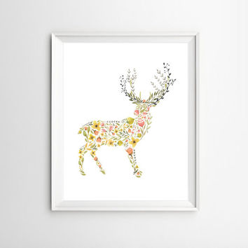 Deer Wall Art Printable Watercolor Floral Deer Christmas Home Decor Bohemian Kids Room Decor Nursery Wall Decor Instant Digital Download