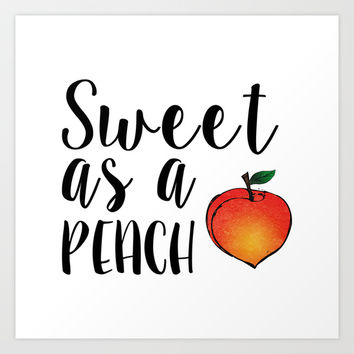 Sweet as a Peach Art Print by Climbing Mountains Art