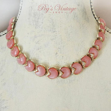 Vintage Mid Century Pink Coro Necklace,  Pink Lucite Cabochon Necklace