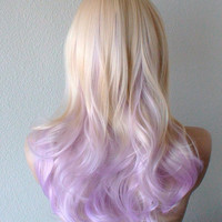 Halloween Special //  Blonde / Pastel Lavender ombre wig. Pastel colored Wavy/Curly hair Long side bangs Lolita / Cosplay / Daily use wig.