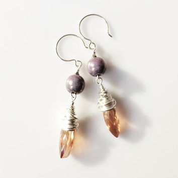 Wrapped Crystal Earrings, Apricot Lavender Silver Drops, Marquise Crystal Wirewrap, Shiny Bright Silver Wrap Earrings, Large Womens Earring