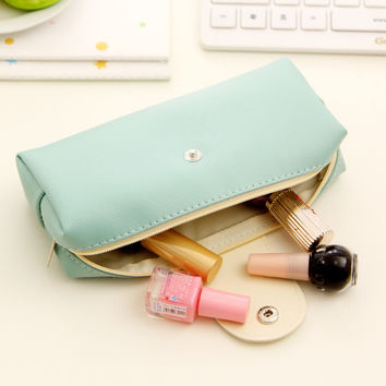 1 Pics Soft Korean Cute Kawaii Pensil Pen Pencil Case Pencil Bag Pouch For Girl School Stationery School Tools Pu Leather
