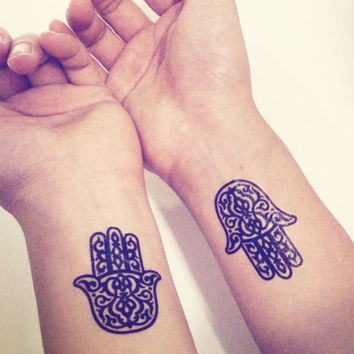 2pcs Hamsa Hand Pattern Tattoo - InknArt Temporary Tattoo Set - pack tattoo quote wrist ankle body sticker anchor fake tattoo Copy
