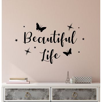 Vinyl Wall Decal Beautiful Life Logo Quote Words Butterflies Stickers (3948ig)