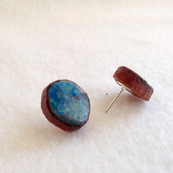 Ceramic Handmade Monsoon Blue stud ceramic earrings on Silver plated surgical steel hypoallergenic