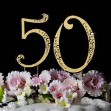 50th Anniversary or Birthday Crystal Accented Cake Top *Sparkle *