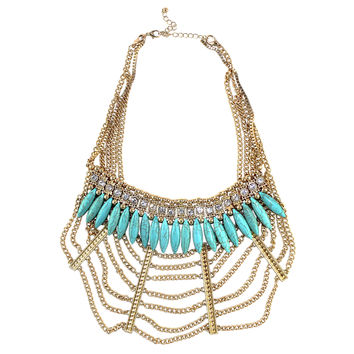 Webbed in Turquoise Necklace