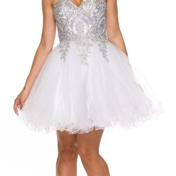 Juliet 762 White Silver Sweetheart Neckline Poofy Short Prom Dress