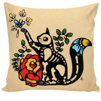 Day of the Dead Skeleton CAT Pillow