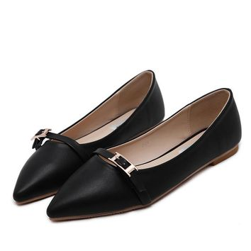 New Fashion Women Ballet Flats Shoes Elegant Spring Slip On Pointed Toe Flats Soft Sho