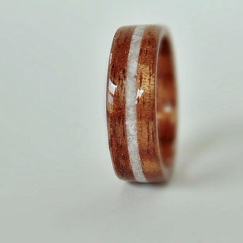 Hawaiian Koa Wood Ring inlayed with Italian Marble