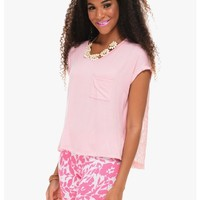 Pink Laced Back Cap Sleeve Top | $10 | Cheap Trendy Blouses Chic Discount Fashion for Women | ModDe