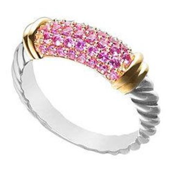Pink Sapphire Twisted Ring : 14K Two Tone (White and Yellow) Gold - 1.00 CT TGW