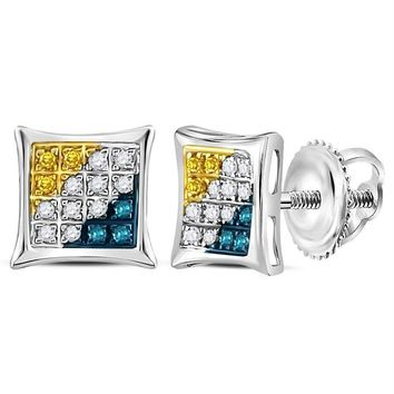 Sterling Silver Women's Round Yellow Blue Color Enhanced Diamond Square Kite Stud Earrings 1-10 Cttw - FREE Shipping (US/CAN)