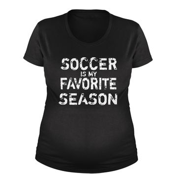 Soccer Is My Favorite Season Maternity Pregnancy Scoop Neck T-Shirt