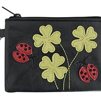 Cute Ladybug and Lucky Clovers Applique Coin Purse Keychain