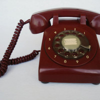 Vintage Red Rotary Phone , Retro Working Home Telephone, Ring Phone, Tested Working Desk Phone