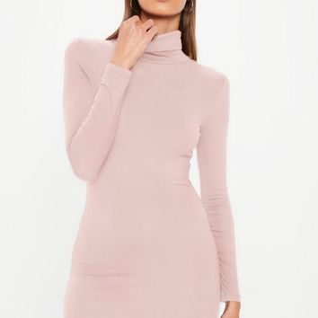 Missguided - Pink Long Sleeve Curve Hem Roll Neck Bodycon Dress