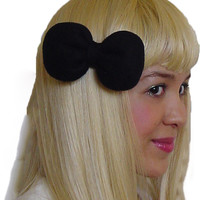 Mini Minnie Mouse Poofy Hair Bow Clip in Black