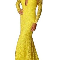 Womens Sexy Yellow Front Keyhole Long Sleeve Cocktail Party Maxi Dress