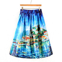 Vintage Beach Print Pleated Midi Skirt