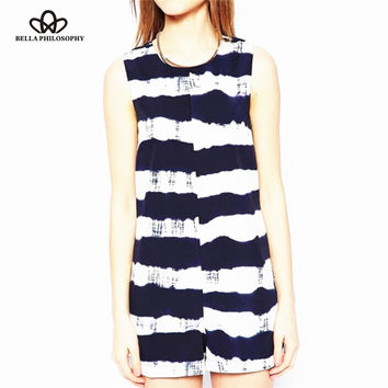 Summer new women's tie dye navy blue stripe print sleeveless cut out back strip waisted jumpsuit shorts jumper