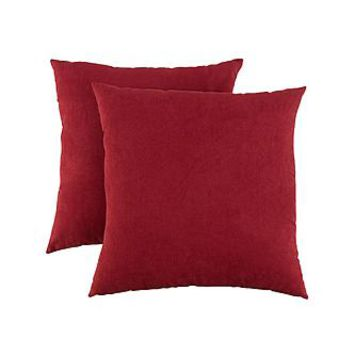 Essential Home Faux Suede 2-pack Decorative Pillows- Red