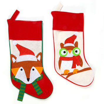 Felt Owl and Fox Christmas Stockings Case Pack 36