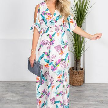 Cool Waters Feather Maxi Dress