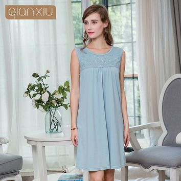 2018 Summer Brand Nightgown Women Sexy Lace dress nightgown Female O-neck collar dresses ladies Soft sleeveless sleepwear dress
