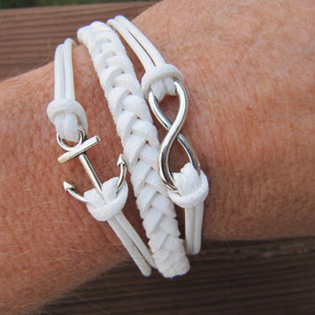 USA Seller- Anchor and Infinity White Friendship Charm Bracelet