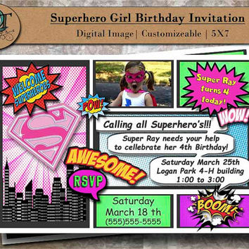 Custom Girl Superhero Birthday Party Invitations 5x7 Digital Image Graphic Design Pary Invites Supergirl Pink Purple Blue Green Photograph
