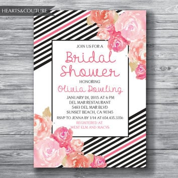 Bridal Shower Invitation, Wedding Shower, Floral Black & White Stripe Bridal Shower Invite, pink bridal shower, floral invite, DIY Printable