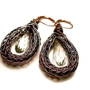 Green Amethyst and Double Viking Knit Lever Back Hoop Earrings in Earth Toned Copper