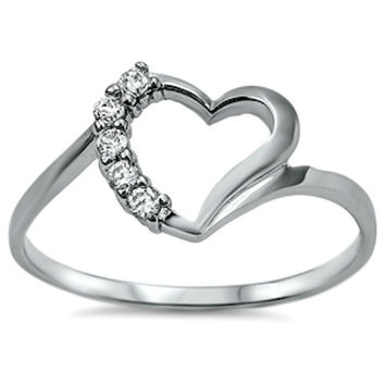 Sterling Silver Open Heart Round Cut CZ Ring size 4-9
