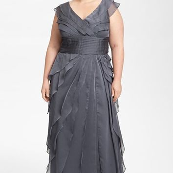 Plus Size Women's Adrianna Papell Iridescent Chiffon Petal Gown